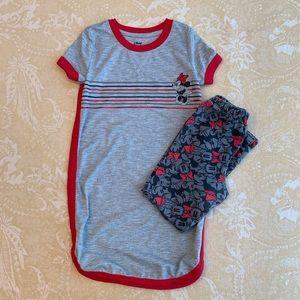 Disney Minnie Mouse Dress Leggings Gray Red 5/6